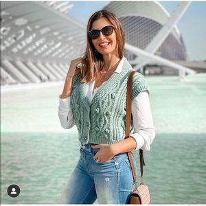 NWT ZARA Jeweled Knit Vest Green XS-S Blogger Fav
